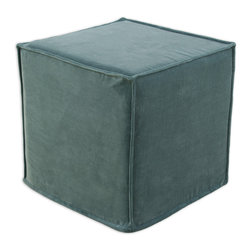 """Chooty - Chooty Cannes Trellis Simply Soft Collection 17"""" Square Seamed Foam Ottoman - Insert 100 High Density Foam, Fabric Content Pile 100 Cotton, Color Aqua, Hassock 1"""