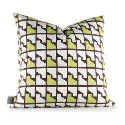 """Inhabit - Estrella Faux Houndstooth Pillow in Grass - Inhabit's entire line of coordinating items makes it easy to mix and match bedding with wall decor and pillows for a custom look that is as unique as you are. With Inhabit, the choices are many and the options are limitless. Features: -Estrella collection. -Made from 100% sustainable recycled polyester. -Handprinted and handmade in the USA. -Environmentally-friendly inks with no chemical waste or disposal generated. -Recyclable at the end of its life-cycle. -Zipper closure for easy removal and cleaning. -Pillow inserts are 95% feather / 5% down. Specifications: -Material: Polyester. -Available sizes:. -18"""" W x 18"""" L. -13"""" W x 24"""" L."""