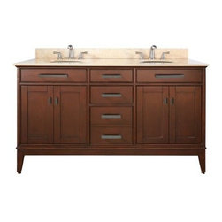 Avanity Madison 60-in. Tobacco Double Bathroom Vanity with Optional Mirrors - As wide and placid as the countryside the Avanity Madison 60-in. Tobacco Double Bathroom Vanity with Optional Mirrors brings a bit of the bucolic into your bathroom. A dark earthy tobacco finish provides this piece with its character while a solid birch frame lends it sturdiness. The frame is built with four soft-close doors and three soft-close drawers (with antique brass hardware) for all your linens and toiletries. The stone countertop is available in your choice of beige marble black granite or white marble and is fitted for two under-mounted sink and two faucets (not included). Adjustable height levelers are included for uneven floors. This piece comes with an option of two 24- or 28-inch mirrors (Dimensions: 24W x 2.2D x 33H inches; 28W x 2.2D x 33H inches respectively) with matching birch-and-tobacco finish or no mirrors at all. About Avanity CorporationAvanity's goal has always been to provide the public with the best products possible at the fairest prices. To this end their customer service style is about listening to their customer not just hearing them. Avanity is confident in their products ensuring each of them has a one-year manufacturer's warranty. Avanity also takes note of increasing market trends to stay ahead of the game and provide the most cutting-edge products available.