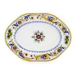 Artistica - Hand Made in Italy - Raffaellesco: Hexagonal Lg. Serving Platter - Raffaellesco Collection: Among the most popular and enduring Italian majolica patterns, the classic Raffaellesco traces its origin to 16th century, and the graceful arabesques of Raphael's famous frescoes.