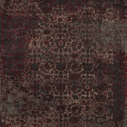 """Loloi Rugs - Loloi Rugs Viera Collection - Charcoal / Red, 9'-2"""" x 12'-7"""" - Classically expressed design elements enjoy a graphic, modern twist in the Viera Collection. Power-loomed of 100-percent polypropylene, these tasteful contemporary and refined transitional designs reverberate with style. A deliberate high-low pile adds to the worn, vintage look and finish of each rug. Ultra sophisticated black/ivory and mocha/ivory color options add broad appeal to this timely yet timeless collection."""