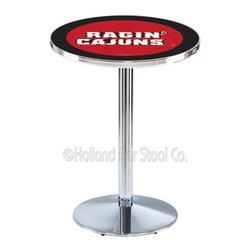 Holland Bar Stool - Holland Bar Stool L214 - Chrome Louisiana-Lafayette Pub Table - L214 - Chrome Louisiana-Lafayette Pub Table belongs to College Collection by Holland Bar Stool Made for the ultimate sports fan, impress your buddies with this knockout from Holland Bar Stool. This L214 Louisiana-Lafayette table with round base provides a commercial quality piece to for your Man Cave. You can't find a higher quality logo table on the market. The plating grade steel used to build the frame ensures it will withstand the abuse of the rowdiest of friends for years to come. The structure is triple chrome plated to ensure a rich, sleek, long lasting finish. If you're finishing your bar or game room, do it right with a table from Holland Bar Stool. Pub Table (1)