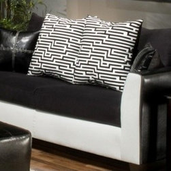 Verona III Carl Sofa Royal White/Elpaso Black/Sierra Black - The white face of this couch is an interesting element. I also like the different textures in the throw pillows.