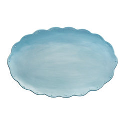 Scallop Oval Platter - Robin Egg Blue - Standing superbly alone even as it coordinates with the traditional design motifs of many dinnerware styles, the Scallop Oval Platter in Robin's Egg Blue boasts an evenly-curved edge patterned with small raised dots to enhance the rhythm of the outline. The surface is otherwise smooth, making it an easy, useful piece for displaying or serving.