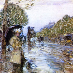 "Frederick Childe Hassam Rainy Day, Paris - 16"" x 16"" Premium Archival Print - 16"" x 16"" Frederick Childe Hassam Rainy Day, Paris premium archival print reproduced to meet museum quality standards. Our museum quality archival prints are produced using high-precision print technology for a more accurate reproduction printed on high quality, heavyweight matte presentation paper with fade-resistant, archival inks. Our progressive business model allows us to offer works of art to you at the best wholesale pricing, significantly less than art gallery prices, affordable to all. This line of artwork is produced with extra white border space (if you choose to have it framed, for your framer to work with to frame properly or utilize a larger mat and/or frame).  We present a comprehensive collection of exceptional art reproductions byFrederick Childe Hassam."