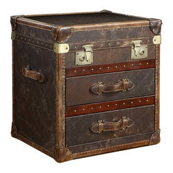 Vintage Steamer Side Table with 2 Drawers Cigar Leather - Our reproduction of old time luggage trunks. Vintage leather with aged patina, canvas-lined 2 drawers, leather-bound corner brackets, leather-wrapped handles, wood slats with aged finish and cast-metal antiqued hardware.