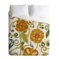 DENY Designs - Valentina Ramos Orange Flowers Duvet Cover - Turn your basic, boring down comforter into the super stylish focal point of your bedroom. Our Luxe Duvet is made from a heavy-weight luxurious woven polyester with a 50% cotton/50% polyester cream bottom. It also includes a hidden zipper with interior corner ties to secure your comforter. it's comfy, fade-resistant, and custom printed for each and every customer.