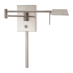 "Frontgate - Michaelson Swing Arm Wall Lamp - Extends 5"" to 23-1/2"" from the wall. Features a rectangular-head steel shade. 8-watt LED bulb produces approximately 267 lumens. Matching 18"" cord cover included. Plug-in style with 96"" cord; can be converted to a ""pin-up"" light (mounted to an electrical wall box). Sleek and angular, our Michaelson Swing Arm LED Wall Lamp brings warm, focused light where you need it. A lit on/off button makes it easy to turn on in the dark, and a full-range dimmer allows a choice of 5% to 100% light output. The contemporary design comes in a choice of four finishes and includes an energy-efficient, 8-watt LED bulb.  .  .  .  . Plug-in style with 96"" cord; can be converted to a ""pin-up' light (mounted to an electrical wall box) . 120V . UL listed . One year limited manufacturer's warranty . Some assembly required . Imported."