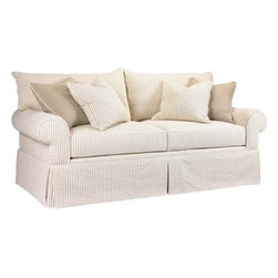 Marion Sofa - The Marion Sofa offers a great casual look with its pinstripe upholstery.  This sofa would look great in any cottage or causal environment.  What a great look for a beach cottage.