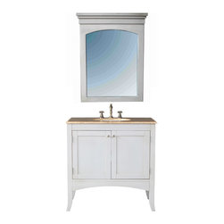 "36"" Alyssa Single Sink Vanity With Travertine Marble Top and Mirror - Gently sloped cabinet legs give an airy illusion to the 36"" Alyssa Single Sink Vanity, with its ample storage and easygoing feel. Ideal for a country cottage or tuscan-style decor, the white finish of this sturdy cabinet adds to its delightful appearance. Metal knobs incorporate a modern flair and the white overhead mirror adds a cohesive design element."