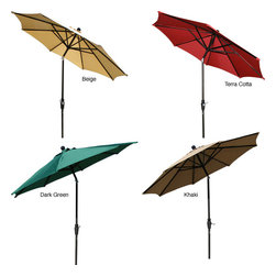 None - Aluminum 9-foot Elegant Collar-tilt Patio Umbrella - The nine-foot tilt patio umbrella is going to add a bit more shade to any yard. These umbrellas come in several color options like terra cotta,khaki,beige,and dark green,to match outdoor decor. It also has easy tilt feature and crank adjustment.