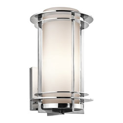 Kichler Lighting - Kichler Lighting Pacific Edge Modern / Contemporary Outdoor Wall Sconce X-613SSP - The Pacific Edge Modern / Contemporary Outdoor Wall Sconce shines in sparkling polished stainless steel. This machine age meets the space age modern and contemporary outdoor wall light fixture combines sleek lines with shiny silvery accents to encase a satin etched cased opal glass cylinder shade. The slim profile outdoor wall light can fit in narrow spaces.