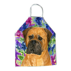 Caroline's Treasures - Bullmastiff Apron SS8155APRON - Apron, Bib Style, 27 in H x 31 in W; 100 percent  Ultra Spun Poly, White, braided nylon tie straps, sewn cloth neckband. These bib style aprons are not just for cooking - they are also great for cleaning, gardening, art projects, and other activities, too!