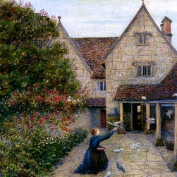 "Maria Spartali Stillman Feeding The Doves At Kelmscott Manor, Oxfordshire - 16"" - 16"" x 24"" Maria Spartali Stillman Feeding The Doves At Kelmscott Manor, Oxfordshire premium archival print reproduced to meet museum quality standards. Our museum quality archival prints are produced using high-precision print technology for a more accurate reproduction printed on high quality, heavyweight matte presentation paper with fade-resistant, archival inks. Our progressive business model allows us to offer works of art to you at the best wholesale pricing, significantly less than art gallery prices, affordable to all. This line of artwork is produced with extra white border space (if you choose to have it framed, for your framer to work with to frame properly or utilize a larger mat and/or frame).  We present a comprehensive collection of exceptional art reproductions byMaria Spartali Stillman."