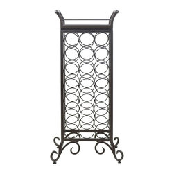 "Winsome Wood - Winsome Wood Silvano 21-Bottle Wine Rack with Removable Tray X-61778 - Silvano Wine Rack 7 x 3 holds 21 bottles with a removable tray.  Contracted from Metal in Dark Bronze Finish and wood for tray.  Tray with handle size is 15.39""W x 10.35""D x 5.08H.  Tray serving surface is 11.57""W x 6.93""D.  Comes with adjustable foot for uneven floors.  Wine Holder diameter is 3.54"".  Assembled wine rack is 18.15""W x 13.50""D x 37.87""H. Assembly Required."