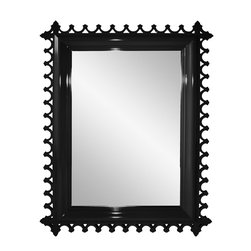 Newport Decorative Mirror - Rectangular - Tricorn Black - Calling upon the heritage of Newport's famed Gilded Era, the Newport mirror is slightly decadent in its design. Each mirror, like the tables, is carved and hand sanded, with impeccable fretwork detailing. Although we are partial to the brighter hues, the Newport is incredibly dapper in black or white too. Mirror is available in rectangular and square versions. Available in 16 colors. Custom color and custom sizing available - please call customer service 203 216 9848. Made in the U.S.A.
