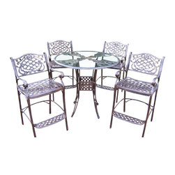 Oakland Living - Mississippi 42 in. 5 Pc Bar Table Set - Hummi - Set includes Bar Table w Umbrella Opening and 4 Bar Stools. Made of Rust Free Cast Aluminum Construction. Easy to follow assembly instructions and product care information. Stainless steel or brass assembly hardware. Fade, chip and crack resistant. 1 year limited. Lightweight and constructed of rust-free cast aluminum. Hardened powder coat finish in Antique Bronze for years of beauty. Antique Bronze finish. Some assembly required. 42 in. W x 42 in. L x 44 in. H (154 lbs.)This five piece Bar Set will be a beautiful addition to your patio, balcony or outdoor entertainment area. Bar sets are perfect for any small space, or to accent a larger space.