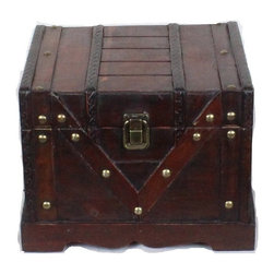"""Quickway Imports - Small Wooden Treasure Box, Old Style Treasure Chest - Approx. Dimension: 9.4"""" x 8.3"""" x 7.2"""""""