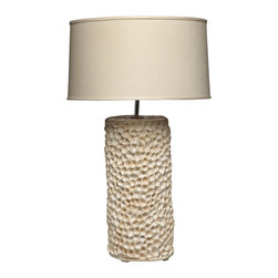 Maggie Minor Designs - Coral Table Lamp, Beige - Inspired by the coral I saw while in Australia, the 'Coral' is a hand-built table lamp base crafted from buncombe clay. It has been wired with nickel fixtures and has an 8' clear /silver cord. Belgium Linen shade included.