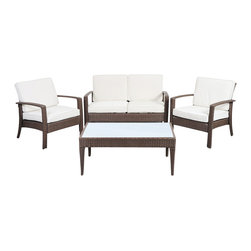 International Home Miami - Atlantic Corfu Deluxe 4 Piece Wicker Conversation Set Brown w/ Off-White Cushion - Corfu Deluxe 4 Piece Wicker Conversation Set Brown with Off-White Cushions belongs to Atlantic Collection by International Home Miami Great quality, stylish design patio sets, made of aluminum and synthetic wicker. Polyester cushion with water repellant treatment. Enjoy your patio with elegance all year round with the wonderful Atlantic outdoor collection.  Armchair (2), Loveseat (1), Coffee Table (1)
