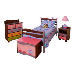 Girl Teaset Twin Bed, Chocolate - A large teapot and 2  teacups sit on the headboard waves of this quality twin bed, made of solid hardwood finished with chocolate brightly colored stains. Includes headboard, footboard, rails, mattress slats, 4 sturdy casters, and finials.