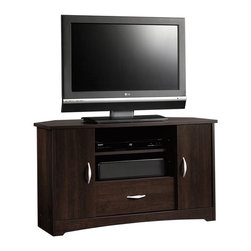 Sauder - Sauder Beginnings  Corner Entertain Stand Cnc in Cinnamon Cherry - Sauder - TV Stands - 413056 -