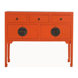 Double Happiness Tall Sideboard - This Asian sideboard will not only bring some exotic style to your dining room but also a burst of bold color. It's got plenty of storage for your flatware, linens, even a gravy boat to boot!