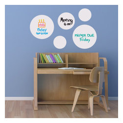 """WallsNeedLove - Dry Erase Dot Decals - Dry Erase Dot Wall Decals are great to stick any place you'd like. You get 2-15"""" dots, 2-8"""" dots, 1-10"""" dot, and a black dry erase marker. Additional markers are available for purchase. The Dry Erase Dot Wall Decals stick and restick many times and erases easily with a damp cloth. Make notes, draw pictures, or just play tic tac toe. Included: 2-15"""" dots, 2-8"""" dots, 1-10"""" dot(plus a free black dry erase marker)"""