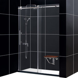 "Dreamline - Enigma-X Fully Frameless Sliding Shower Door, Clear 3/8"" Glass Door - The Enigma X sliding shower door is the epitome of style, innovation and quality. The sleek fully frameless design and high functioning performance deliver the look and feel of custom glass at an exceptional value. The impressive 3/8"" thick tempered glass is factory treated with DreamLine exclusive ClearGlass protective coating for superior protection and easy maintenance. The substantial stainless steel hardware is the perfect marriage of urban style and effortless operation. Take your bathroom design to the limit with the high quality and sublime styling of the Enigma X sliding shower door."