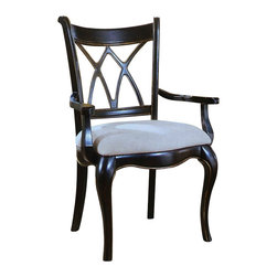 "Hooker Furniture - Preston Ridge X Back Chair - Set of 2 - Arm - White glove, in-home delivery!  For this item, additional shipping fee will apply.  Crafted in fine hardwood solids and cherry mahogany and white ash burl veneers, Preston Ridge is enhanced with a dramatic black finish with physical distressing rub-through and contrasting panels to create a rich two-tone look with the timeworn patina of a treasured family heirloom that has been lovingly touched for many generations.  With such distinguished design elements as wood-framed doors with contrasting wood panels and generously scaled base and crown moldings, Preston Ridge will add style to any room in your home!  Fabric seat.  Arm Chair - Arm to Arm (Narrowest Point): 17 1/8"" w  Arm to Arm (Widest Point): 19 3/4"" w  Arm Height: 25 1/8"" h  Seat Depth: 19"" d  Seat Height: 20 1/8"" h"