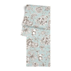 Light Blue Floral Toile Custom Table Runner - Get ready to dine in style with your new Simple Table Runner. With clean rolled edges and hundreds of fabrics to choose from, it's the perfect centerpiece to the well set table. We love it in this beautiful sky blue and gray toile floral cotton sateen. Modern or traditional? You be the judge.