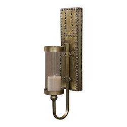 """Uttermost Rashane Metal Sconces, Set/2 - Lightly stained, silver-champagne aluminum with decorative nail head trim. 3""""x4"""" distressed beige candles included. Lightly stained, silver champagne aluminum with decorative nail head trim. Distressed beige candles included."""
