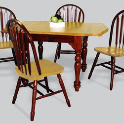 """Sunset Trading - 5-Pc Eco-Friendly Drop Leaf Dining Set - Includes one extension table and four aspen style chairs. Traditional classic beauty and style. Sturdy quality craftsmanship. Table:. Classic American piece. Light oak top. Classic and timeless, and with the memories made. Solid handcrafted hardwood extension table perfect for the smallest of spaces yet opens to 72 in.. Removable 18 in. Leaf and two 10 in. drop leaves convert table from 34 in. x 34 in. up to 34 in. x 72 in.. Chair:. Curved, comfort back and scooped light oak seat. Perfectly carved and steel reinforced turned legs. Large contoured backrest and seating area to provide ideal seating solution. Warranty: One year. Made from Malaysian oak. Nutmeg finish. Made in Malaysia. Table assembly required. Chair: 20 in. W x 19.5 in. D x 38 in. H (16 lbs.). Table:. Minimum: 36 in. L x 34 in. W x 30 in. H. Maximum: 72 in. L x 34 in. W x 30 in. H. Weight: 130.16 lbs.Welcome guests into your home with a touch of country comfort with this from the Sunset Trading - Sunset Selections Collection. Whether it's casual """"coffee and conversation"""", everyday dining, holidays or special occasions, memories are guaranteed to be made when family and friends gather around this versatile dining table. Warm and inviting, the classic beauty and craftsmanship of this dining tables makes it equally appropriate for your kitchen or dining room fulfilling all your formal and informal dining needs. Pair this table with your choice of Sunset Selections arm and side chairs to appropriately complete your informal or formal dining space. This relaxed dining piece will bring warmth and comfort to your home for years to come! Complete your dining decor with the country charm of timeless casual dining chairs from the Sunset Trading - Sunset Selections Collection."""