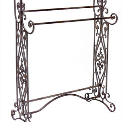 "Imax Worldwide Home - Quilt / Towel Rack - Traditional, wrought iron quilt or towel rack in a dark finish with open-metalwork design features 3 horizontal bars; Country of Origin: China; Weight: 11.2 lbs; Dimensions: 35.5""h x 28""w x 14""d"