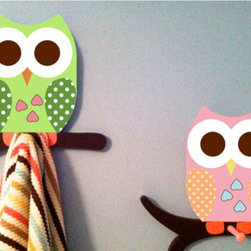 Owl Bathroom Towel Racks by The Wooden Owl - Whoo loves this unique towel rack? These hand-cut and hand-painted owl peg racks are made using solid 1-inch wood. Whimsical and fun, they make for great conversation pieces too.