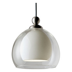 Progress Lighting - P6135-09W Illuma-Flex One Light Flex Track System Brushed Nickel - 12V low voltage T4 mini-pendant with white glass surrounded by clear glass.