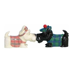 WL - Black/White Scottish Terriers Kissing Salt and Pepper Set - This gorgeous 2.75 Inch Black/White Scottish Terriers Kissing Salt and Pepper Set has the finest details and highest quality you will find anywhere! 2.75 Inch Black/White Scottish Terriers Kissing Salt and Pepper Set is truly remarkable.