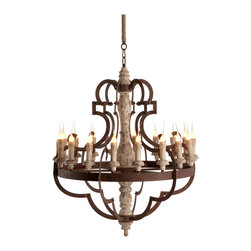 Kathy Kuo Home - Nurnberg Large Rustic Iron 18 Light Chandelier - Add some drama to your space with this 18 light chandelier. Heavy wood center is adorned with dramatic metal lines in a rusted finish.