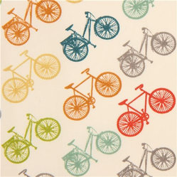colourful bike organic fabric by birch from the USA - Jay-Cyn Designs vehicle fabric 'Ride' with many colourful bikes