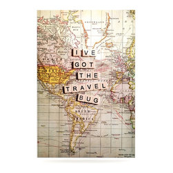 """Kess InHouse - Sylvia Cook """"Travel Bug"""" Map Metal Luxe Panel (16"""" x 20"""") - Our luxe KESS InHouse art panels are the perfect addition to your super fab living room, dining room, bedroom or bathroom. Heck, we have customers that have them in their sunrooms. These items are the art equivalent to flat screens. They offer a bright splash of color in a sleek and elegant way. They are available in square and rectangle sizes. Comes with a shadow mount for an even sleeker finish. By infusing the dyes of the artwork directly onto specially coated metal panels, the artwork is extremely durable and will showcase the exceptional detail. Use them together to make large art installations or showcase them individually. Our KESS InHouse Art Panels will jump off your walls. We can't wait to see what our interior design savvy clients will come up with next."""