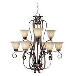Fremont-Multi-Tier Chandelier - A curvaceous metal frame finished in Platinum Dusk tastefully support fluted Wilshire glass shades.