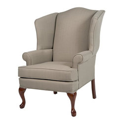 Comfort Pointe - Erin Beige Wing Back Chair - Solid hardwood frame ensures long lasting durability. No Assembly Required. Drop-In Coil system for a more comfortable seat. Seat Cushion is wrapped in Dacron which is soft polyester fibers for better quality and comfort. Foam density is 1.8. Complete with welting on all seams and double welting above the front legs.. Fabric: Textured fabrics which gives a look of linen but offer extra durability and clean-ability. Fabric Content: 100% Polyester. Finish: Cherry Finish. Seat Height: 19.5 inches. Cushion Depth: 20 in.. Arm Height: 24.5 inches. 28 in. W x 35 in. D x 42 in. H (45 lbs.). Made in U.S.A.The Erin chair is proudly handcrafted in the USA and features a solid hardwood frame, drop-in coil suspension system which offers superior comfort and stability, and welting on all seams.  The textured fabric has the classic look of linen and will compliment any setting.  You'll enjoy sitting in this chair for hours at a time.