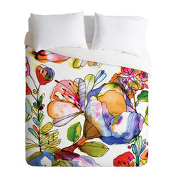 DENY Designs - CayenaBlanca Blossom Pastel Duvet Cover - Turn your basic, boring down comforter into the super stylish focal point of your bedroom. Our Luxe Duvet is made from a heavy-weight luxurious woven polyester with a 50% cotton/50% polyester cream bottom. It also includes a hidden zipper with interior corner ties to secure your comforter. it's comfy, fade-resistant, and custom printed for each and every customer.