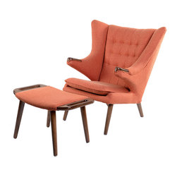NyeKoncept - Retro Orange Bjorn Chair - Inspired by one of the mid century icons _ Hans Wegner's Teddy Bear Chair, the Bjorn Chair is the perfect exemplar that combines the old school aesthetics with timeless design. The lively and animate design combined with the ottoman, sets the gold standard for comfort and compliments every taste or design scheme.