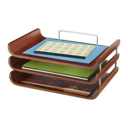 Safco 3641CY Bamboo Triple Tray - Get your papers and files organized with the Safco 3641CY Bamboo Triple Tray. This durable bamboo triple tray is designed to keep you on track by keeping your papers in order. Perfect for notebooks, papers, and other documents. In a beautiful cherry finish.About Safco ProductsSafco products were specifically developed to meet the changing needs of the business world, offering real design without great expense. Each product is designed to fit the needs of individuals and the way they work, by enhancing comfort and meeting the modern needs of organization in the workplace. These products encourage work-area efficiency and ultimately, work-life efficiency: from schools and universities, to hospitals and clinics, from small offices and businesses to corporations and large institutions, airports, restaurants, and malls. Safco continues to offer new colors, new styles, and new solutions according to market trends and the ever-changing needs of business life.