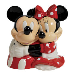 Mickey Mouse & Minnie Mouse - Hugging Mickey & Minnie Cookie Jar - How cute! The lovely mouse duo houses crisp cookies in this fan-favorite jar. Constructed from durable, food-safe materials and equipped with a pop-off top, it keeps tasty treats fresh and safe from sticky fingers.   8.125'' H x 10.5'' diameter Ceramic Hand wash Imported