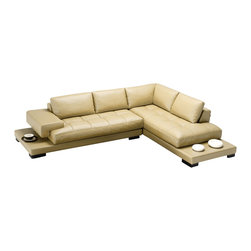 Tosh Furniture - Modern Beige Leather Sectional Sofa - RSF - Everyday elegance comes alive with the sophistication of this lovely modern sectional sofa. The tufted seating cushions blend nicely with the clean elements of the back cushions. A low rise end cap doubles just fine as an end table and the darker wood legs provide superb contrasting.