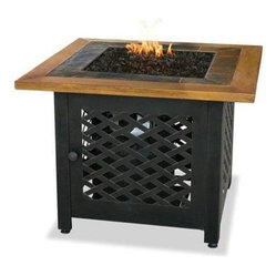 Gas Firebowl With Slate And Faux Wood Mantel Square