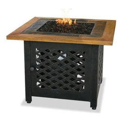 "Blue Rhino - Gas Firebowl With Slate And Faux Wood Mantel Square - Blue Rhino GAD1391SP Liquid Propane Outdoor Firebowl with Slate and Faux Wood Mantel . This Blue Rhino outdoor firebowl is a beautiful, functional and modern addition to any deck, patio, or pool side. Offering more than 30,000 BTU's and powered by liquid propane there is no limit to where this stylish and customizable unit can travel and safely provide comfort. This unit features handcrafted slate tile and faux wood mantle in a circular design with a covertly hidden control panel that keeps everything within arms reach. Includes Bronze Glass. Simple assembly with no tools required makes this one of the most versatile and easy to use additions to any home. 32.1""W x 24.2""H x 32.1""D"