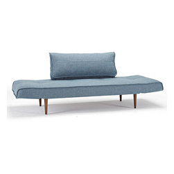 "Innovation USA - ""Innovation"" Zeal Deluxe Mixed Dance Light Blue Daybed / ... - Enjoy this comfortable daybed, which can easily change its positions, the armrest can be lowered to create a full bed option. This item arrived with dark wood legs to make it more stylish. This lovely ""Innovation USA"" product is available in White Leather Textile, Mixed Dance Light Blue, Black Leather Textile, Basic Orange andGravel colors. See more colors in theZeal Deluxe Collection below."